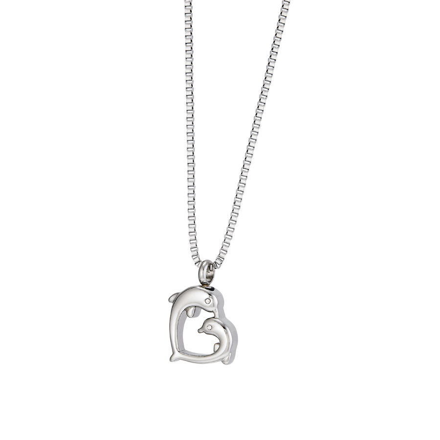 Dolphin Heart Cremation Urn Pendant